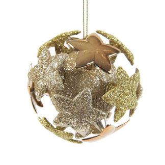 Pallina 3D oro glitterata con stelle mm 80