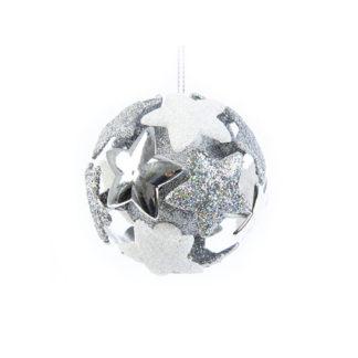 Pallina 3D argento glitterata con stelle mm 80
