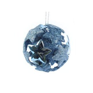 Pallina 3D blu glitterata con stelle mm 80