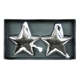 Stelle in vetro argento set 2 pezzi cm 10