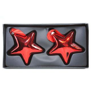 Stelle in vetro rosse set 2 pezzi cm 10