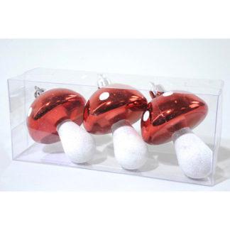 Funghetti rossi e bianchi set 3 pezzi cm 8