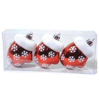 Guantini glitterati rossi e bianchi set 3 pezzi cm 7,5