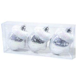 Guantini glitterati argento set 3 pezzi cm 7,5