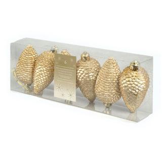 Pigne glitterate oro set 6 pezzi cm 8
