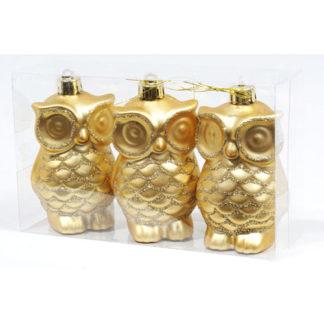Gufetti oro glitterati set 3 pezzi cm 8