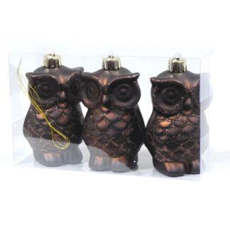 Gufetti marrone glitterati set 3 pezzi cm 8