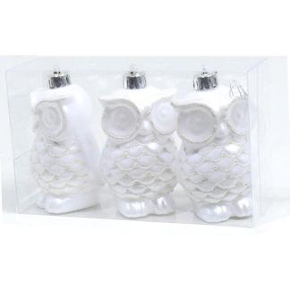 Gufetti bianchi glitterati set 3 pezzi cm 8