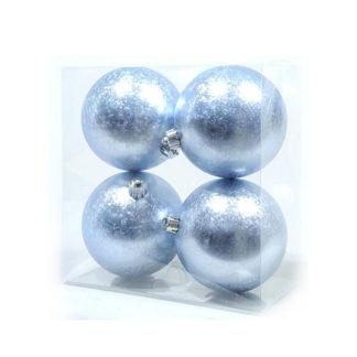Box 4 palline natalizie azzurro ghiaccio mm 100