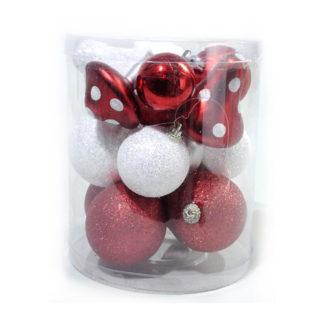 Box 16 palline di Natale e funghetti