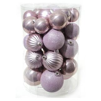 Box 34 palline di Natale mix rosa