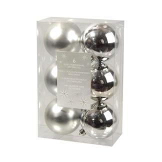 Box 6 palline natalizie argento assortite mm 80