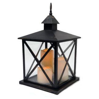 Lanterna Nera Maxi con Led e Timer