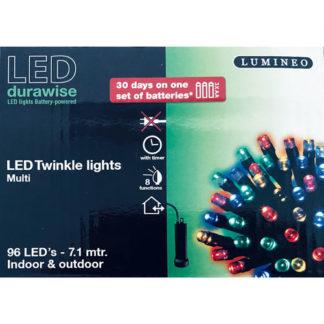 Minilucciole 96 led multicolor a batteria con timer mt 7