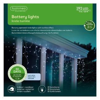 Cascata di luci bianco freddo a batteria con timer mt 7