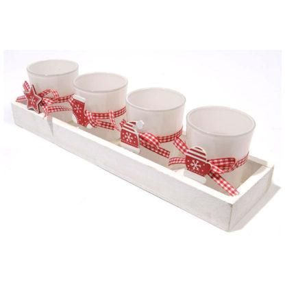 Bicchierini portacandele in vetro con vassoio set 4 pezzi