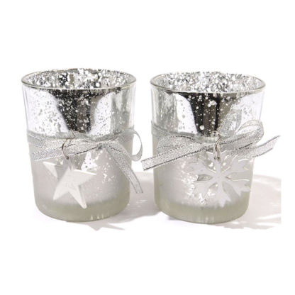 Bicchierini portacandele vetro argentato set 2 pezzi