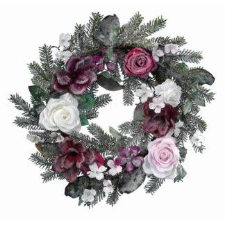 Corona pino ghiacciata con rose cm 60