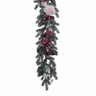 Ghirlanda pino ghiacciata con rose cm 180