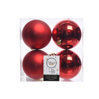 Box 4 palline natalizie rosse assortite mm 100