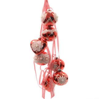 Grappolo di Palline e Cuori rossi con nastri set 7 pezzi