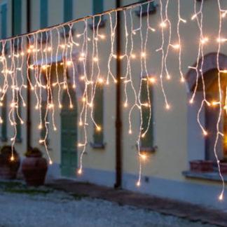 Cascata di luci led fisse bianco caldo con cavo mt 8