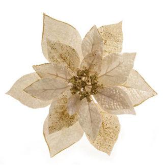 Stella di Natale bianco lana con clip cm. 23