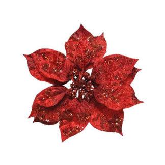 Stella di natale rossa con clip cm. 16