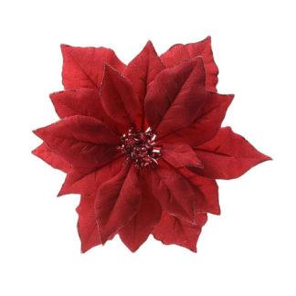 Stella di natale rossa con clip cm. 24
