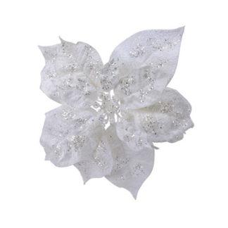 Stella di Natale bianca con clip cm. 16
