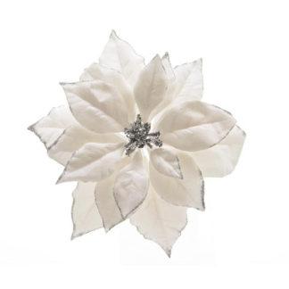Stella di Natale bianca con clip cm. 24