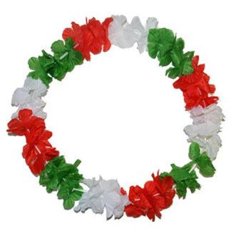 Collana hawaiana tricolore ITALIA