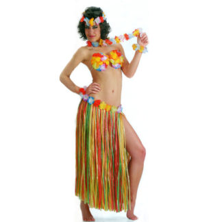 Gonna hawaiana multicolor con fiori cm 80