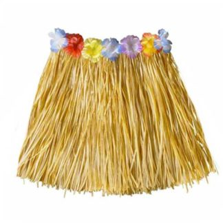 Gonna Hawaiana naturale con fiori cm 55