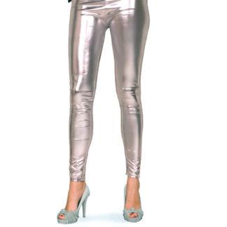 Leggins metallizzati argento tg. S/M