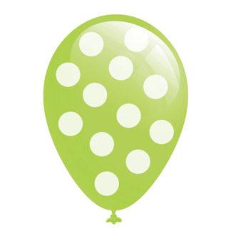 Palloncini a pois verde lime 12 pezzi