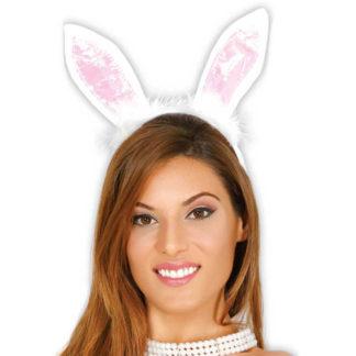 Orecchie coniglietta bianche e rosa con marabu'