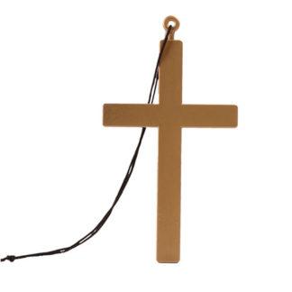 Croce simil legno in PVC con cordino