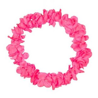 Collana hawaiana fiori maxi fucsia neon