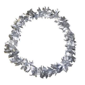 Collana hawaiana metallizzata argento