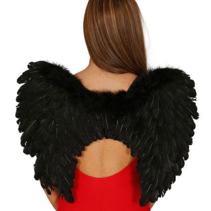 Ali angelo con piume nere cm 50