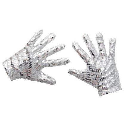 Guanti in paillettes argento LARGE
