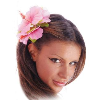 Fermacapelli Hawaii con fiori ibisco rosa