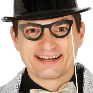 Bastoncini photo booth cm 20 con occhiali set 6 pezzi
