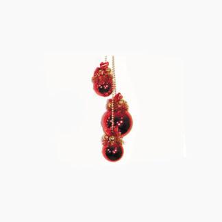 Grappolo 3 palline rosse decorate cm. 70