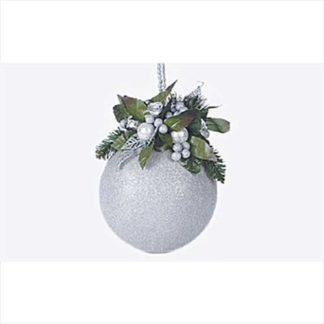 Pallina natalizia mm 100 glitter argento