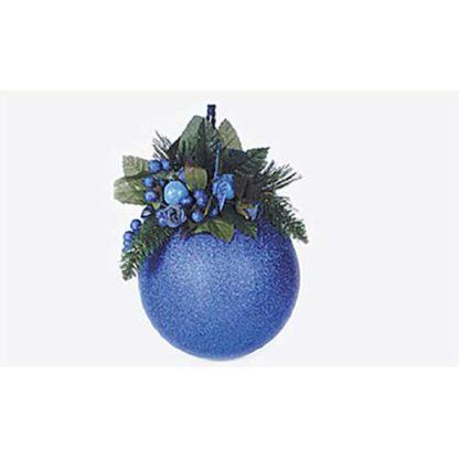 Pallina di natale mm 150 glitter blu