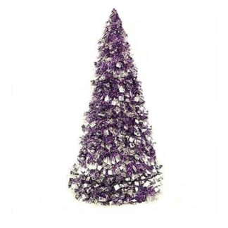 Alberino di Natale viola e argento cm 60