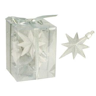 Stelline Glitterate bianco/argento set 9 pezzi cm 8