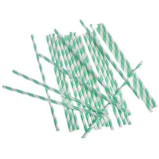 Cannucce verde menta a righe 24 pezzi